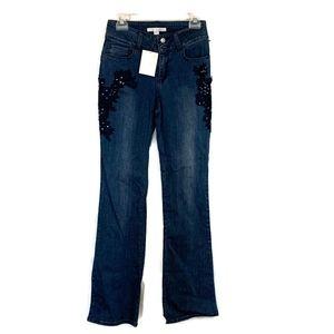 Boston Proper Size 2 Appliqué Bootcut Jeans NWT